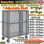 88VR / Heavy-Duty See-Thru Security Trucks Adjustable Shelf
