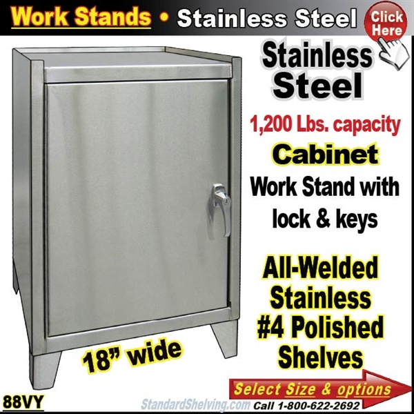 Stainless Steel Cabinet Work Stands - 18 wide stainless steel work table