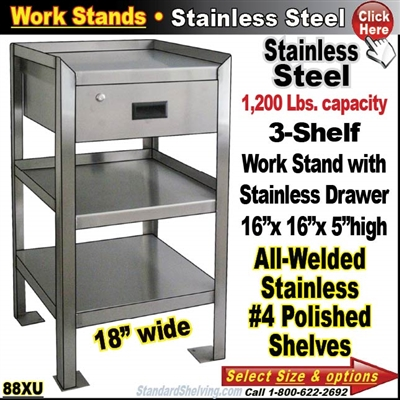 88XU / Stainless Steel 3-Shelf Work Stand