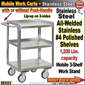 88XXV / Stainless Steel 3-Shelf Mobile Carts