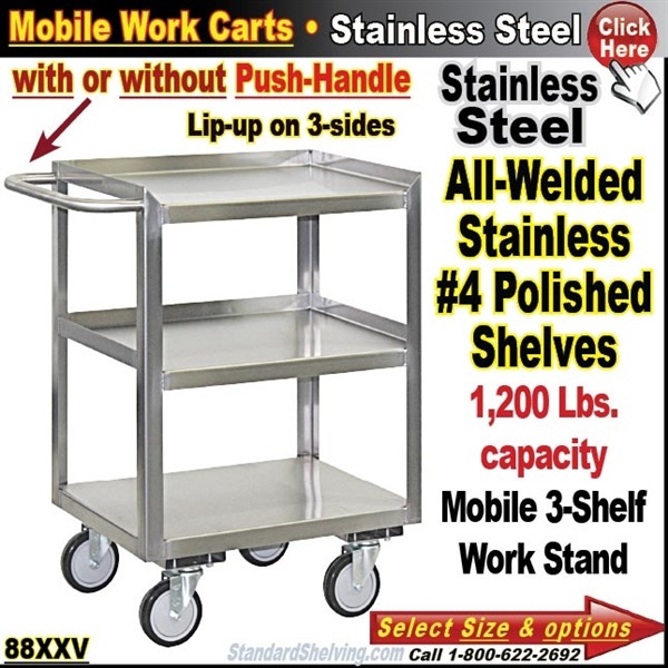 Stainless Steel Cabinet Carts - Stainless steel table with lip