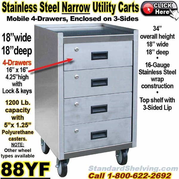 Stainless Steel Mobile Carts - 18 wide stainless steel work table