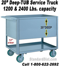 "20"" DEEP SHELF/TRAY SERVICE STOCK CARTS & TRUCKS (99BD) 1200 LB. CAPACITY"