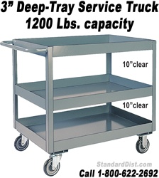 "3"" DEEP SHELF/TRAY SERVICE STOCK CARTS & TRUCKS (99LN) 1200 LB. CAPACITY"