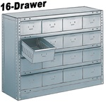 "16 DRAWER STEEL CABINET 27""HIGH"