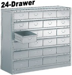 "24 DRAWER STEEL CABINET 40""HIGH"