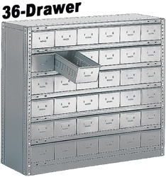 "36 DRAWER STEEL CABINET 40""HIGH"