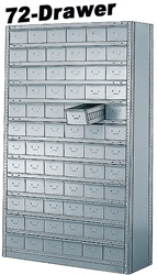 "72 DRAWER STEEL CABINET 75""HIGH"