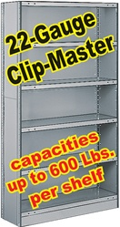 CLOSED CLIP-MASTER STEEL SHELVING 22-GAUGE, 5-SHELF UNITS (BX1C22)