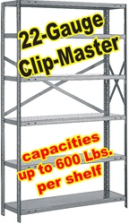 OPEN CLIP-MASTER STEEL SHELVING 22-GAUGE, 5-SHELF UNITS