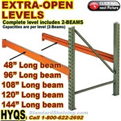 Pallet Rack EXTRA-LEVELS OPEN (no-decking) / HYELO