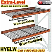 Pallet Rack EXTRA-LEVELS with Wire-Decking / HYELW