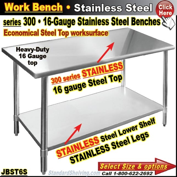Stainless Steel Work Bench - 16 gauge stainless steel work table