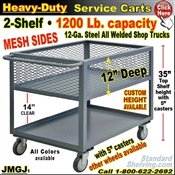 "JMGJ / Heavy Duty MESH 12"" Deep Shelf Service Cart"