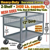 "JMGK / Heavy Duty Mesh 12"" Deep-Lip Shelf Service Cart"