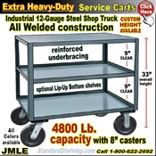 JMLE / Extra Heavy Duty 3-Shelf Rolling Steel Table