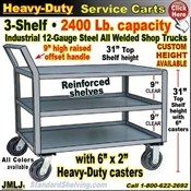 JMLJ / EXTRA Heavy Duty 3-Shelf Service Cart