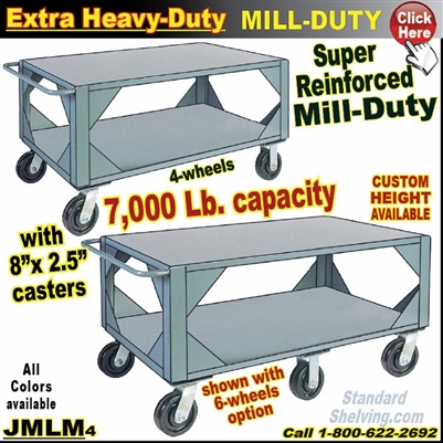 JMLM / Extreme Mill-Duty 2-Shelf Mobile Steel Table