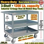 JMLN / Heavy Duty Deep-Lip 3-Shelf Service Cart