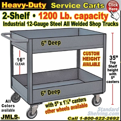 JMLS / Heavy Duty Deep-Lip 2-Shelf Service Cart