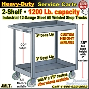 JMLT / Heavy Duty Deep-Lip 2-Shelf Service Cart