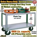 JMLW / Extra Heavy Duty 2-Shelf Service Cart & Rolling Table