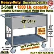 "JMNA / Heavy Duty 12"" Deep Shelf Service Cart"