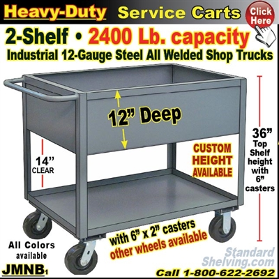 "JMNB / Heavy Duty 12"" Deep-Lip Shelf Service Cart"