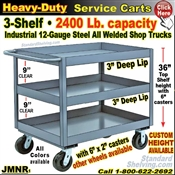 JMNR / Heavy Duty Deep-Lip 3-Shelf Service Cart