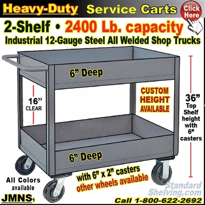 JMNS / Heavy Duty Deep-Lip 2-Shelf Service Cart