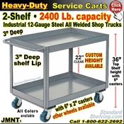 JMNT / Heavy Duty Deep-Lip 2-Shelf Service Cart