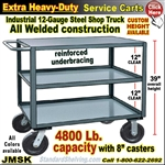 JMSK / Extra Heavy Duty 3-Shelf Service Cart & Steel Rolling Table
