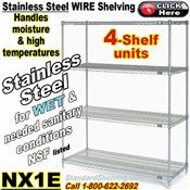 Stainless Steel 4-Shelf Wire Shelving / NX1E