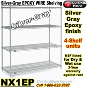 Silver-Gray Epoxy 4-Shelf Wire Shelving / NX1EP