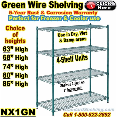 GREEN Epoxy 4-Shelf Wire Shelving / NX1GN