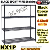 Black-Epoxy 4-Shelf Wire Shelving / NX1P