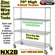 Zinc-Chromate Wire 4-Shelf Trucks / NX2B