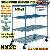 "Blue-Chromate Wire 4-Shelf Trucks 70""high / NX2C"