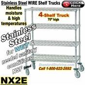 Stainless Steel 4-Shelf Wire Shelf Trucks / NX2E