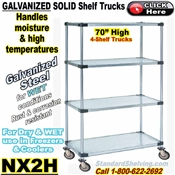 "Galvanized Solid Steel 4-Shelf Trucks, 70""high / NX2H"