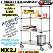 Stainless Steel Solid 4-Shelf Trucks / NX2J