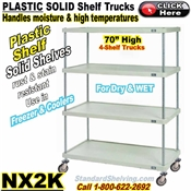 "70""High Plastic 4-Shelf Solid Shelf Truck / NX2K"