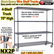 Black-Epoxy 4-Shelf Wire Trucks / NX2P