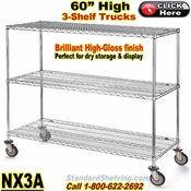 "Chrome Wire 3-Shelf Trucks 60""High / NX3A"