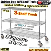 Stainless Steel 3-Shelf Wire Shelf Trucks / NX3E