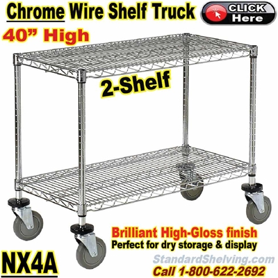 "Chrome Wire 2-Shelf Trucks 40""High / NX4A"