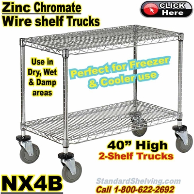 Zinc-Chromate Wire 2-Shelf Trucks / NX4B
