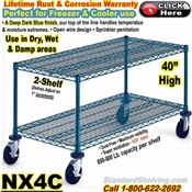"Blue-Chromate Wire 2-Shelf Trucks 40""high / NX4C"