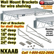 Wall Mount Brackets for Wire Shelving / NXAAB