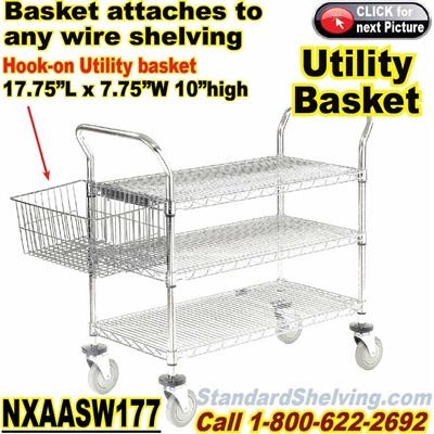 Hook-on Wire Basket for Wire Shelves / NXAASW177